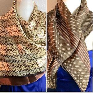 Coach signature brown scarf & silk polka dot scarf
